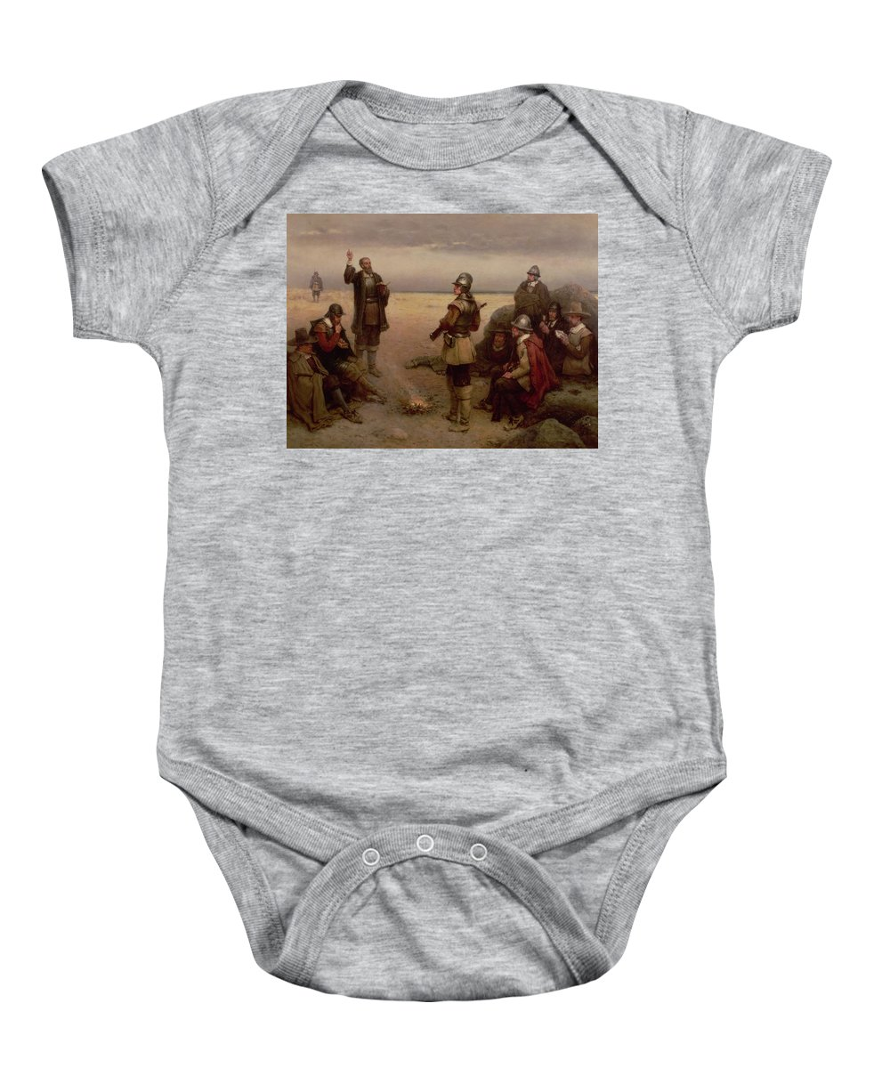Helmet; Breast Plate; Roundhead; Round; Head; New; World; Founding; Pilgrims; Settlers; United States; Plymouth; Arrival; America; American Beach; Beach; Coast; Coastal Baby Onesie featuring the painting The Landing Of The Pilgrim Fathers by George Henry Boughton