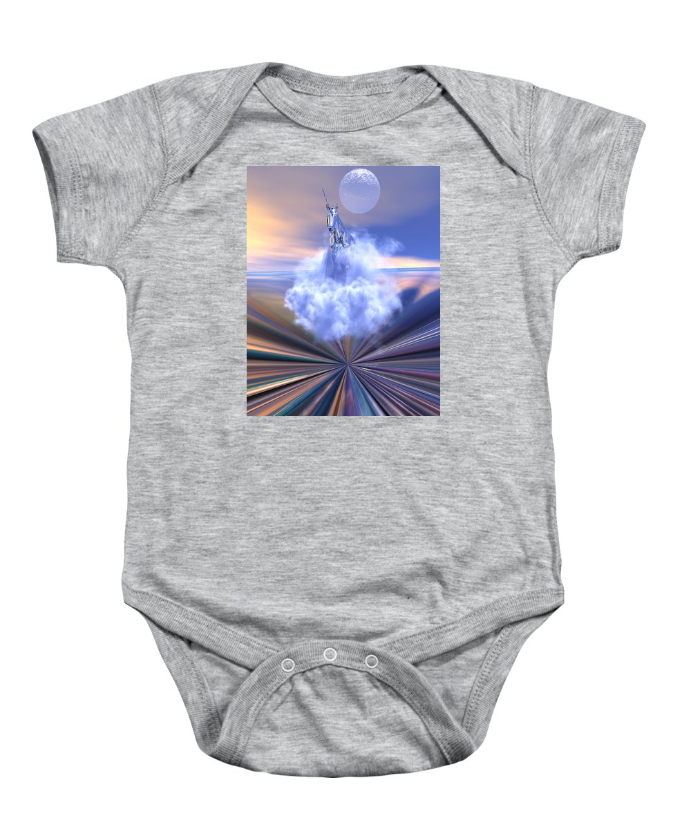 Bryce Baby Onesie featuring the digital art The Last Of The Unicorns by Claude McCoy