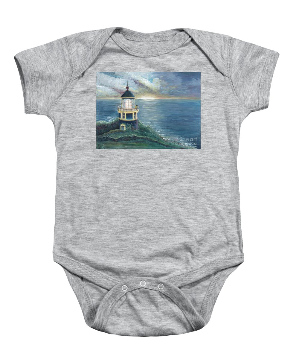 Lighthouse Baby Onesie featuring the painting The Lighthouse by Nadine Rippelmeyer