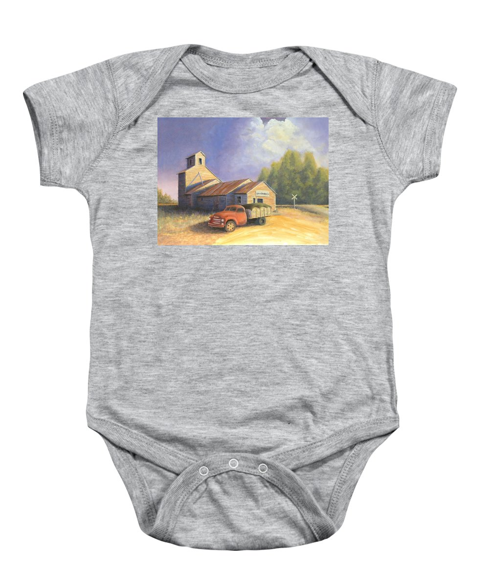 Nebraska Baby Onesie featuring the painting The Lisco Elevator by Jerry McElroy