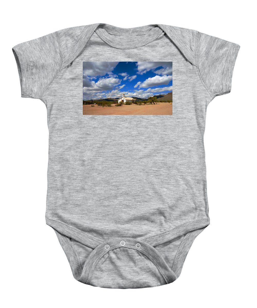 Photography Baby Onesie featuring the photograph The Little Country Church by Susanne Van Hulst