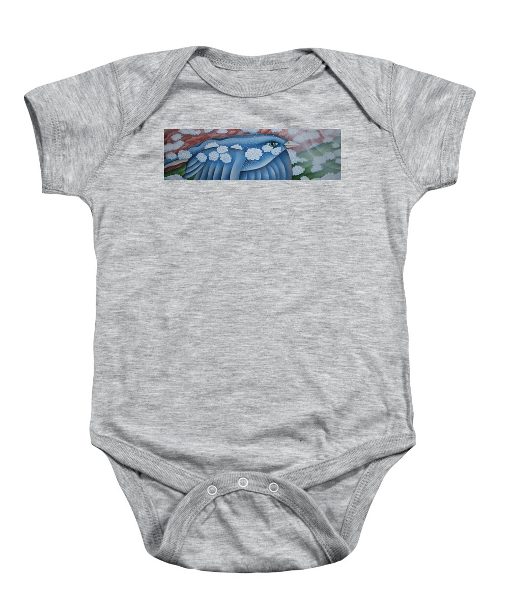 Bluebird Baby Onesie featuring the greeting card The Lone Bluebird by Jeniffer Stapher-Thomas