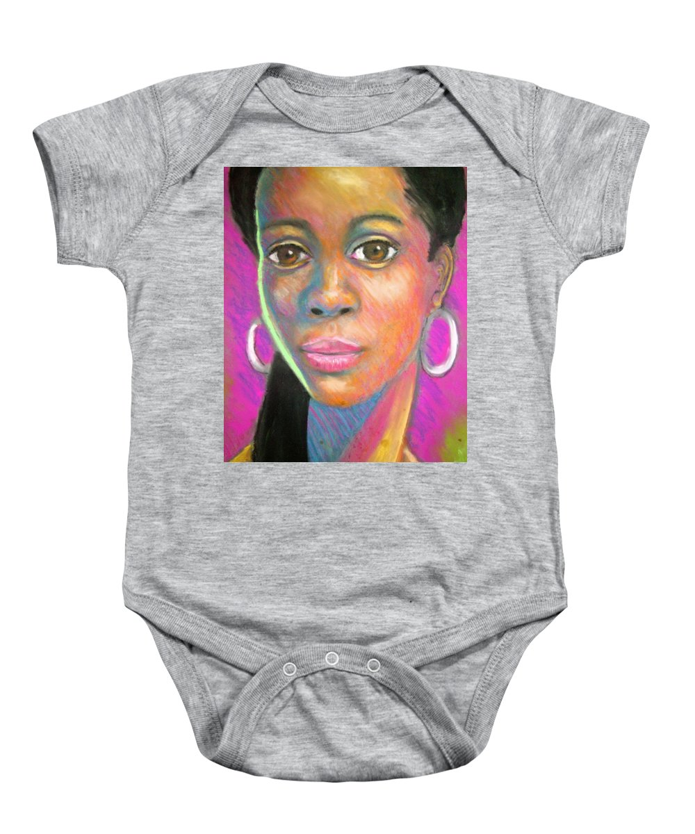 Portrait Baby Onesie featuring the drawing The Look by Jan Gilmore