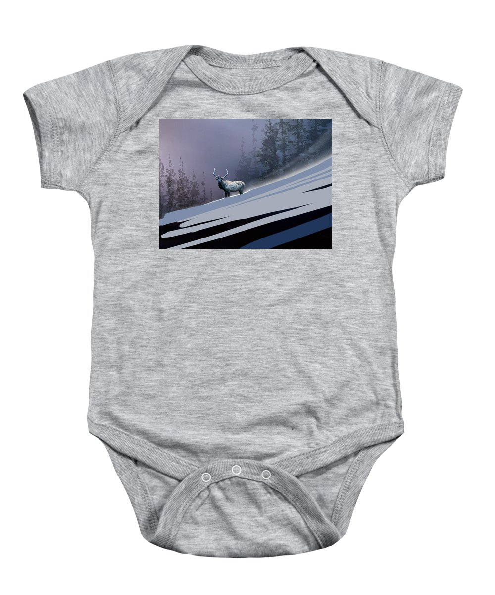Animal Baby Onesie featuring the painting The Magnificent Elk by Paul Sachtleben