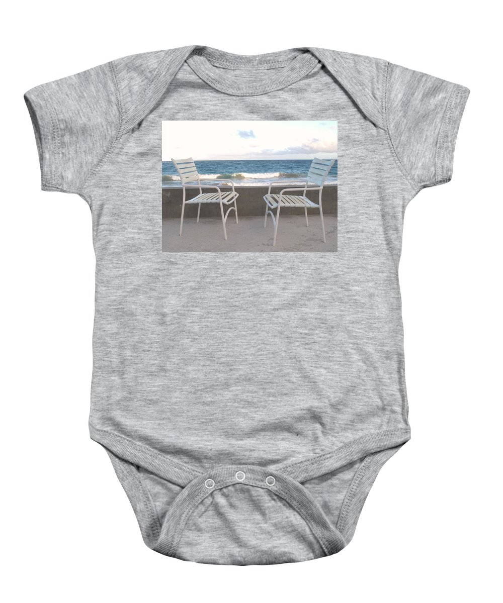 Seascape Baby Onesie featuring the photograph The Meeting by Ian MacDonald