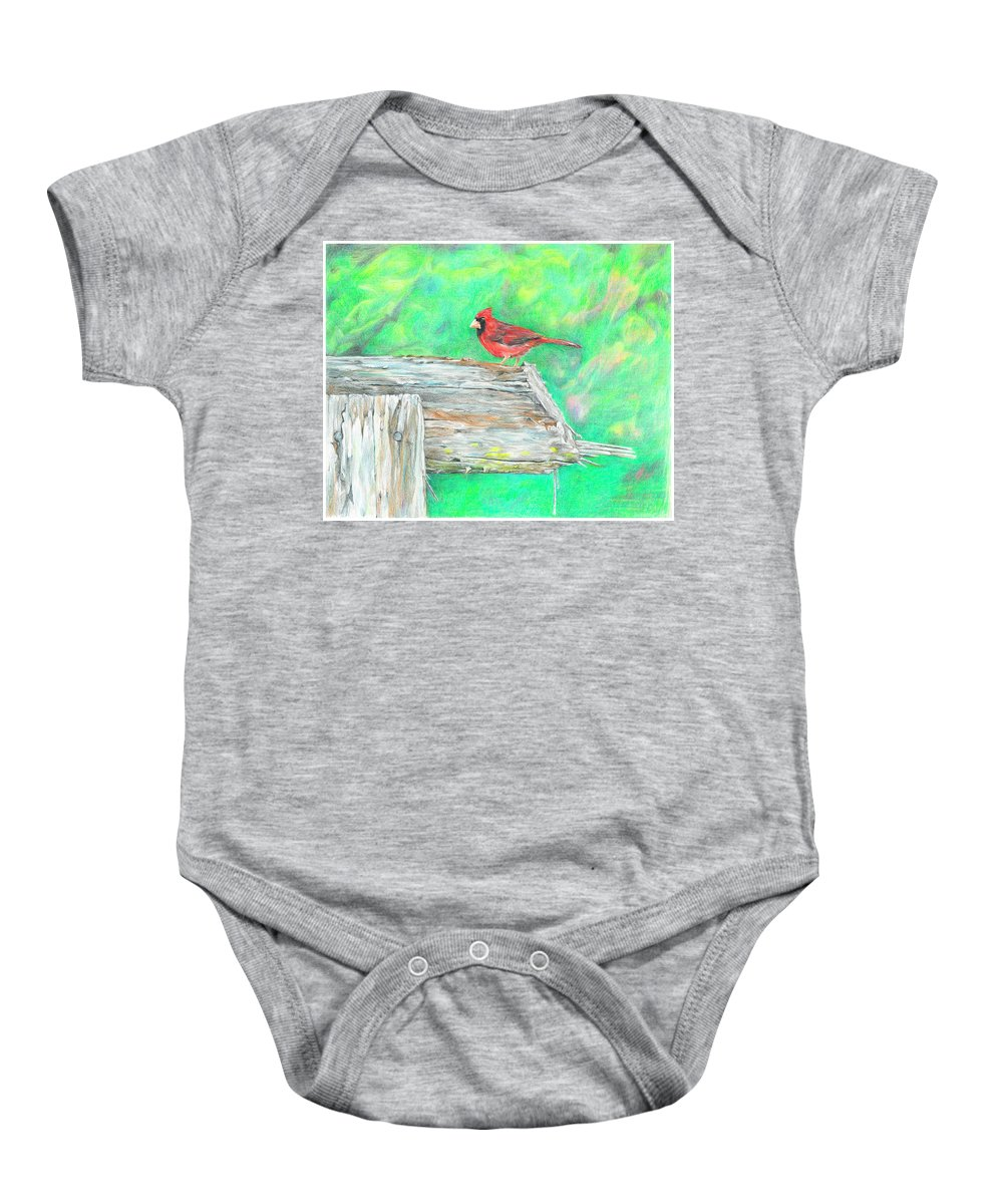 Birds Baby Onesie featuring the drawing The Messenger by Becky Brooks