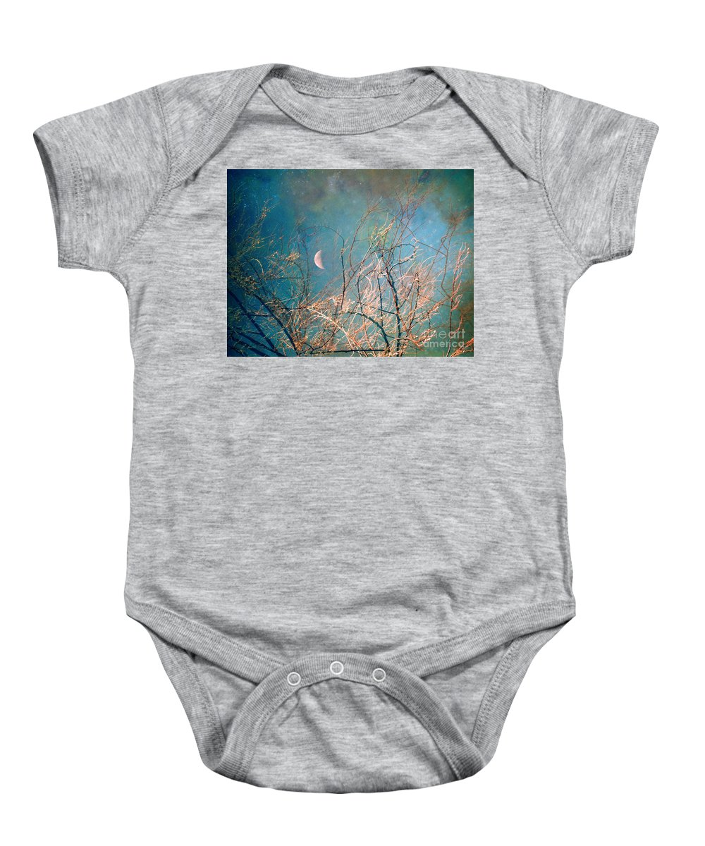 Moon Baby Onesie featuring the photograph The Messy House Of The Moon by Tara Turner