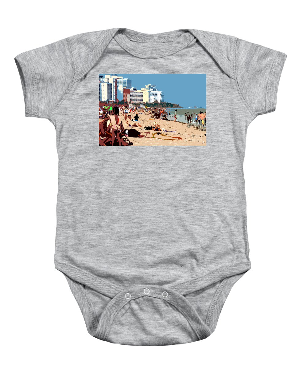 Miami Beach Florida Baby Onesie featuring the photograph The Miami Beach by David Lee Thompson