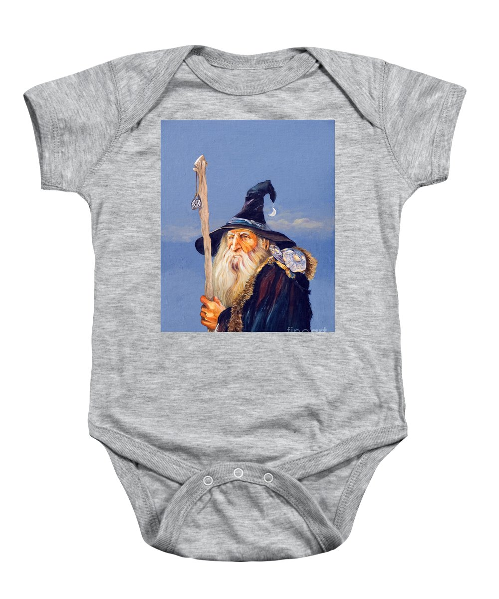 Wizard Baby Onesie featuring the painting The Navigator by J W Baker