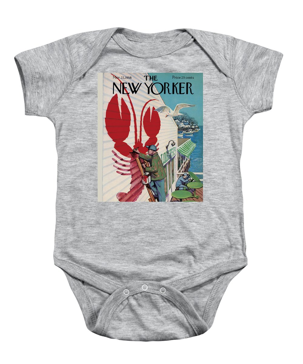 Food Baby Onesie featuring the painting New Yorker March 22, 1958 by Arthur Getz