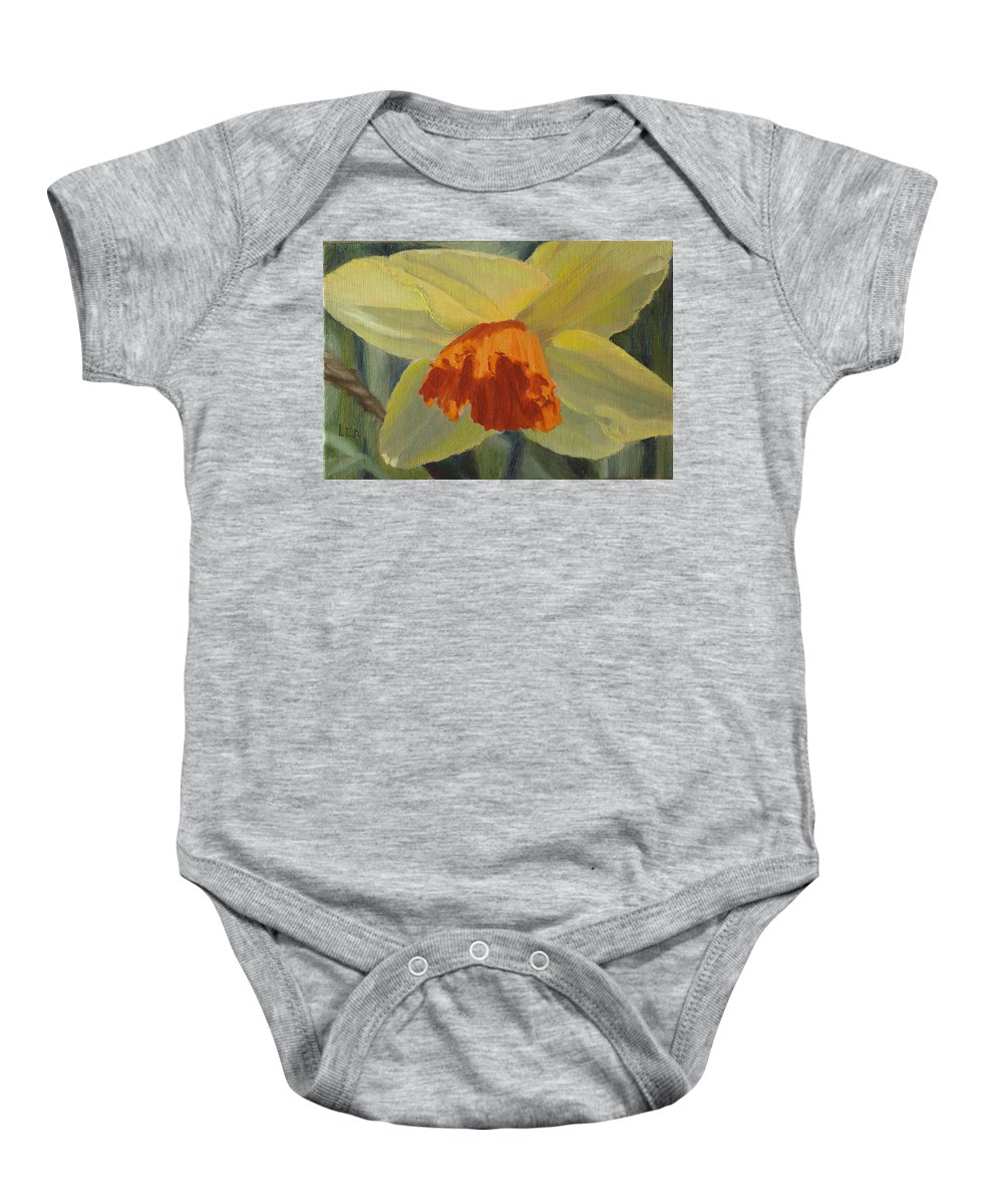 Flower Baby Onesie featuring the painting The Nodding Daffodil by Lea Novak