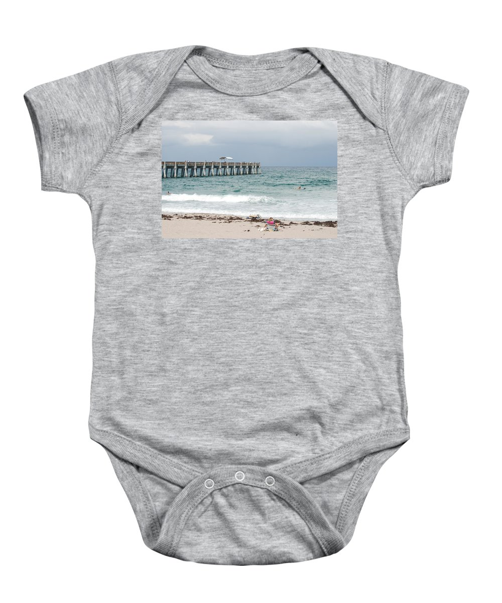 Women Baby Onesie featuring the photograph The Ocean Pier by Rob Hans