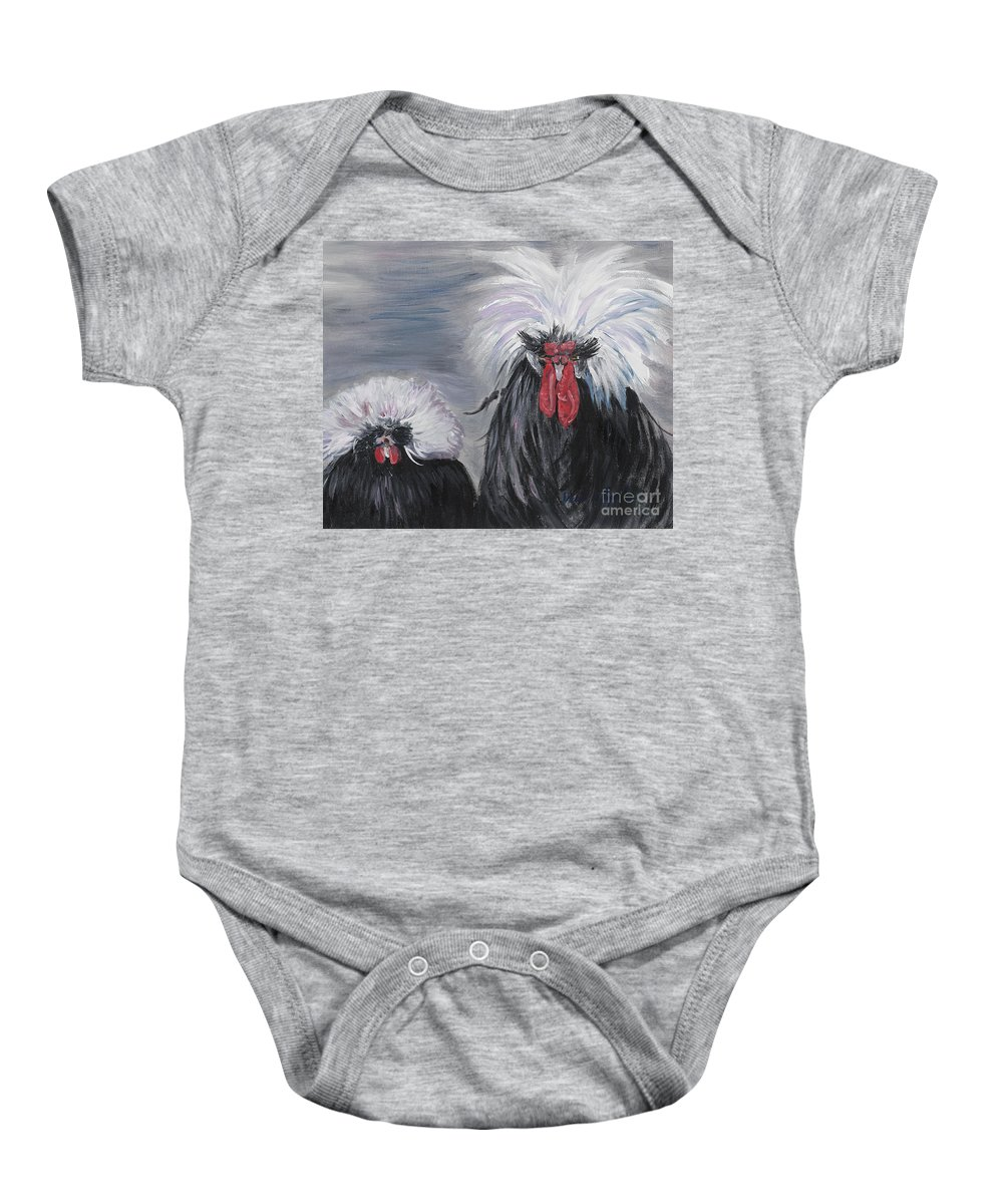 Odd Chickens With Wild Hair Baby Onesie featuring the painting The Odd Couple by Nadine Rippelmeyer