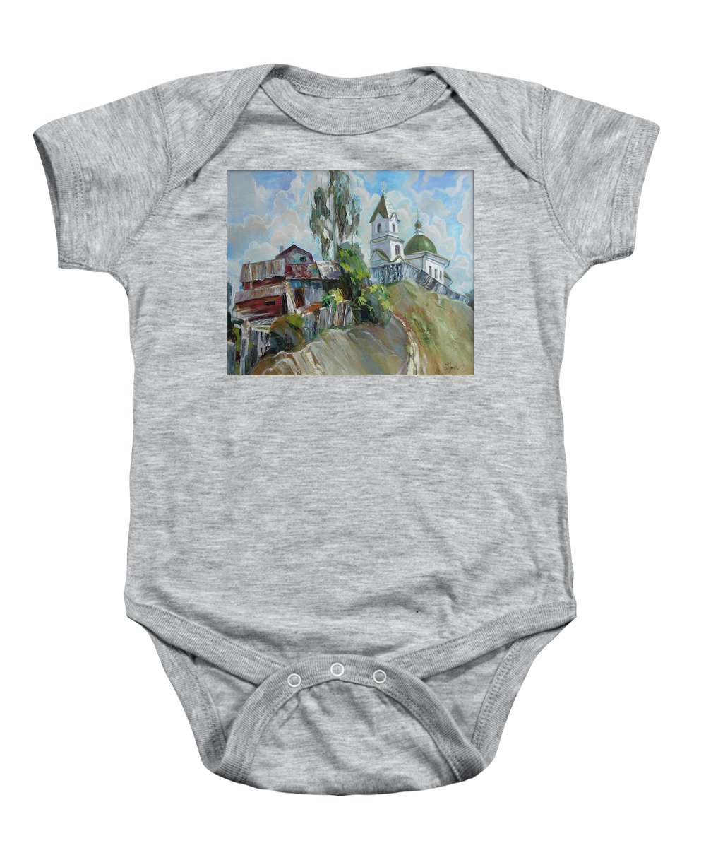 Oil Baby Onesie featuring the painting The Old And New by Sergey Ignatenko