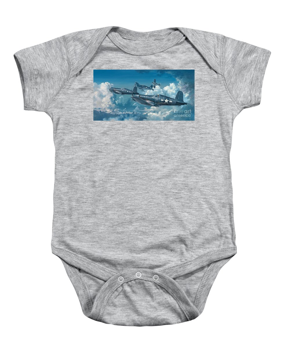 Wwii Baby Onesie featuring the painting The Old Breed by Randy Green