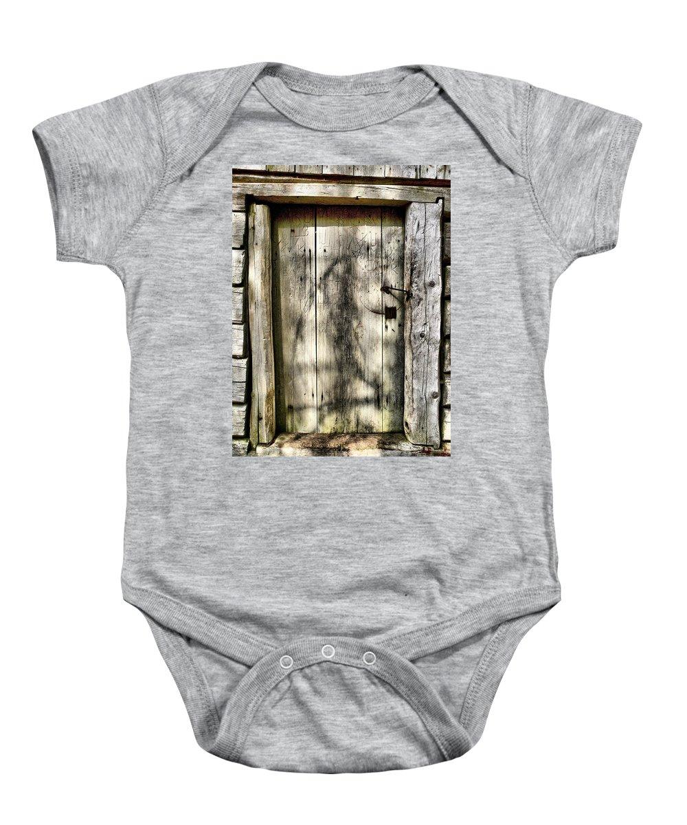 Lehtokukka Baby Onesie featuring the photograph The Old Door by Jouko Lehto