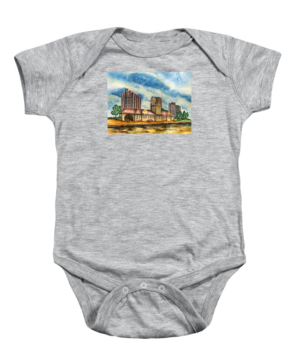 Cityscape Baby Onesie featuring the painting The Old Train Station  by Ragon Steele