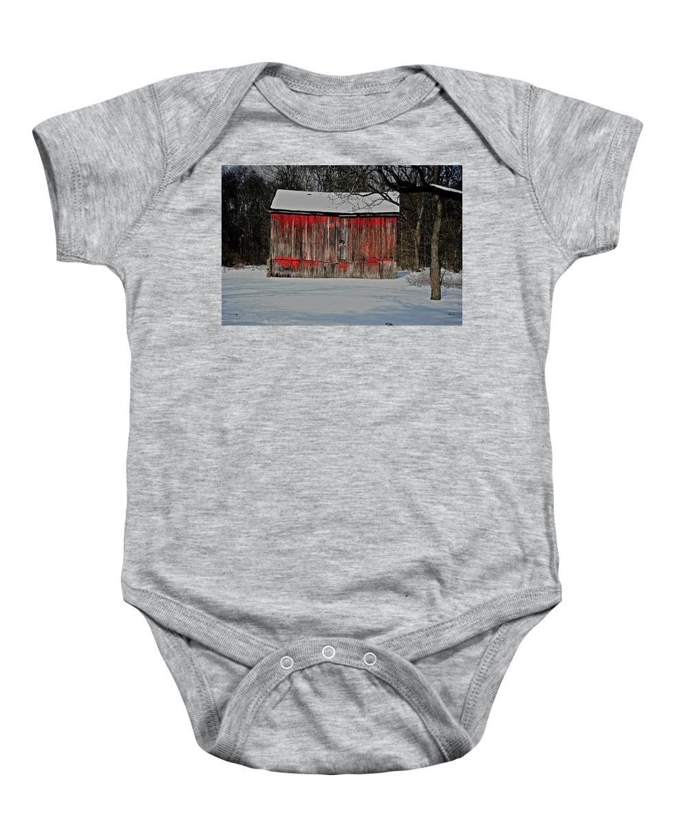 Old Baby Onesie featuring the photograph The Old Weathered Barn by Robert Pearson
