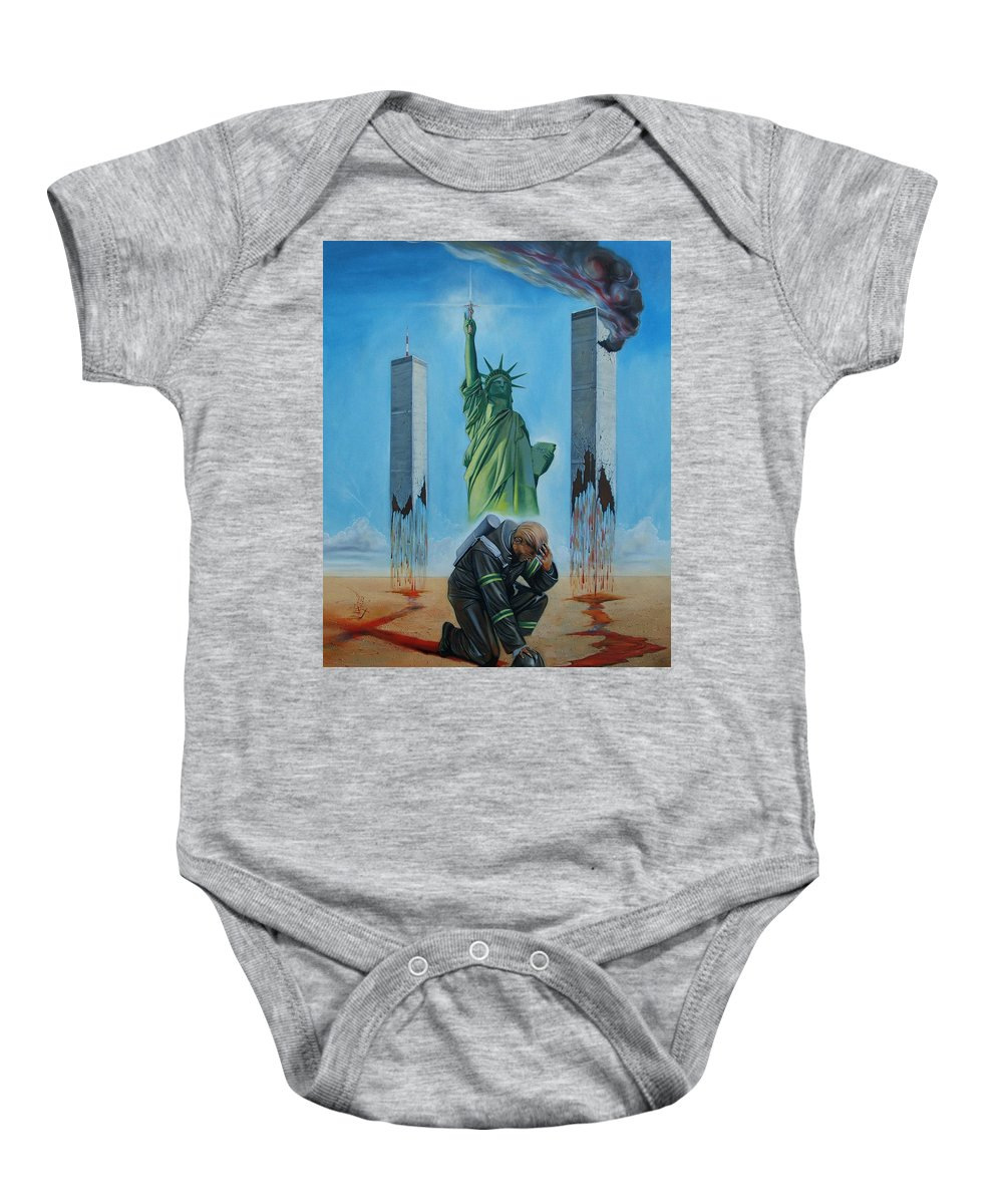Surrealism Baby Onesie featuring the painting The Pain Holder II by Darwin Leon