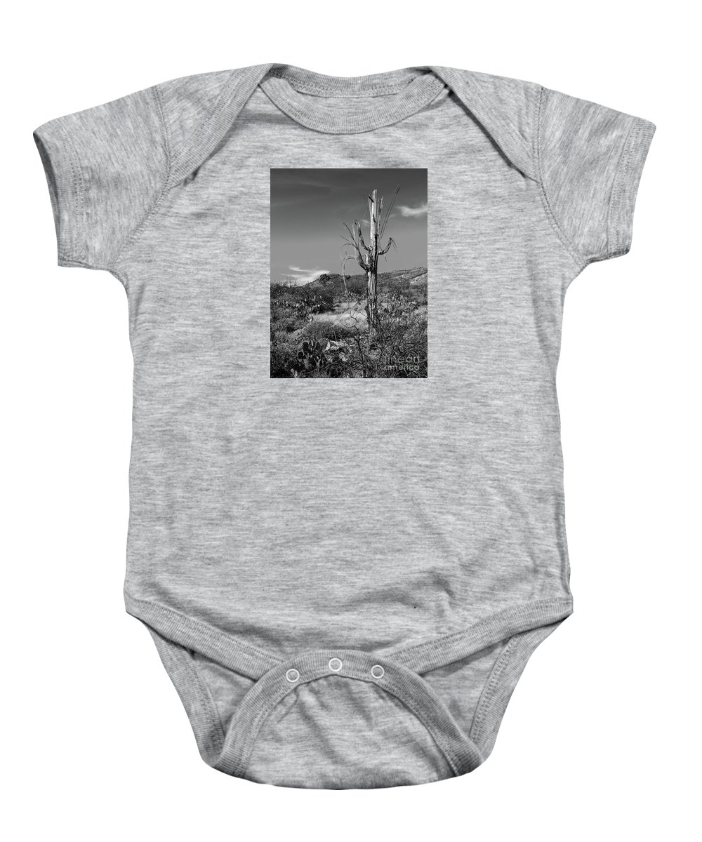 Black And White Baby Onesie featuring the photograph The Past Is Present by Charles Norkoli