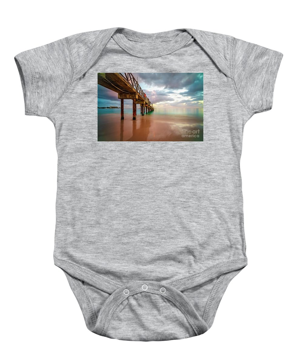 Bridgetown Baby Onesie featuring the photograph The Pastel Sky And The Jetty by Hugh Walker