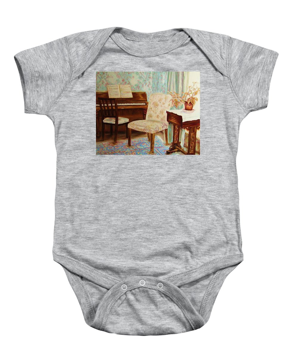 Iimpressionism Baby Onesie featuring the painting The Piano Room by Carole Spandau