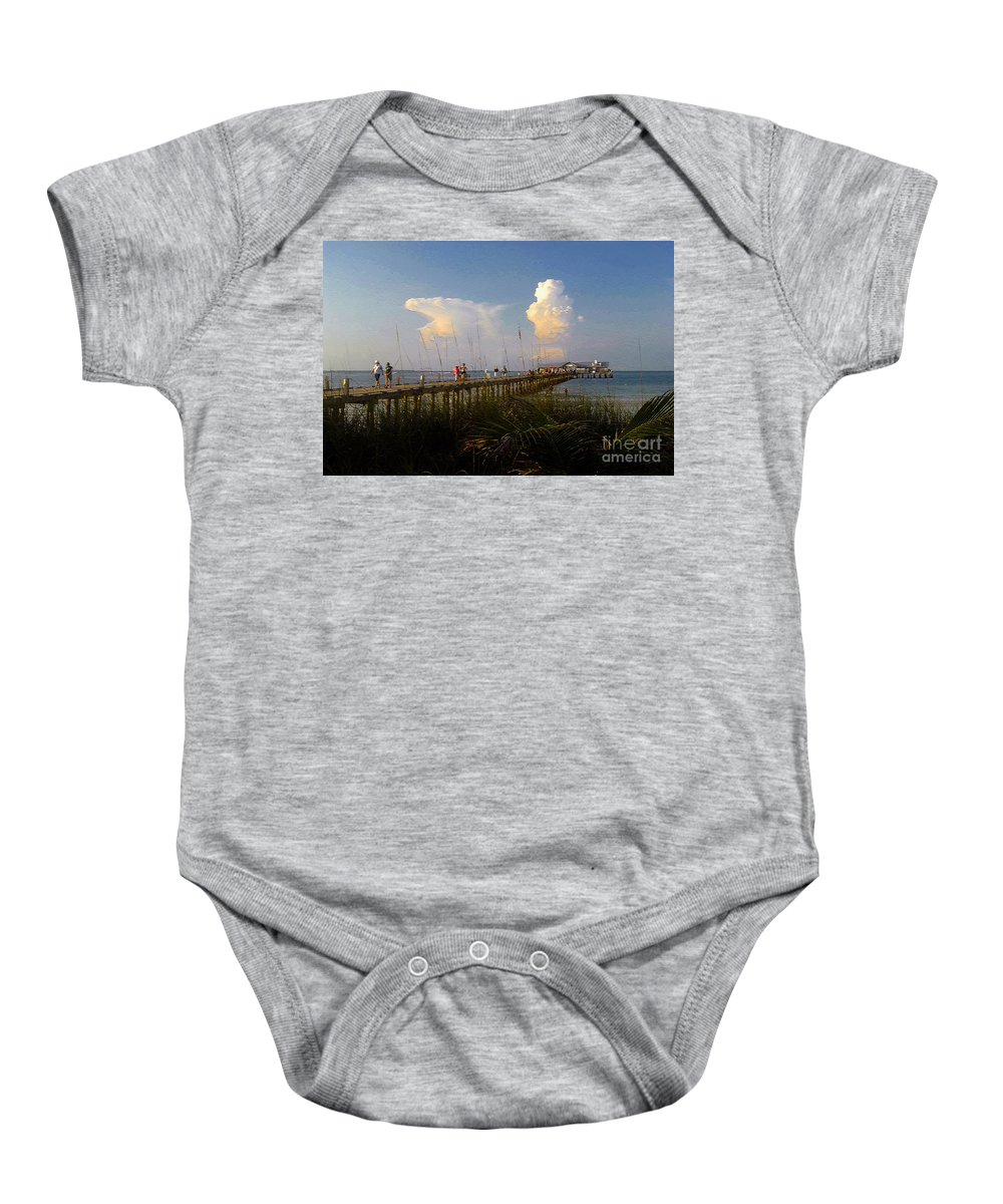 Pier Baby Onesie featuring the photograph The Pier On Anna Maria Island by David Lee Thompson