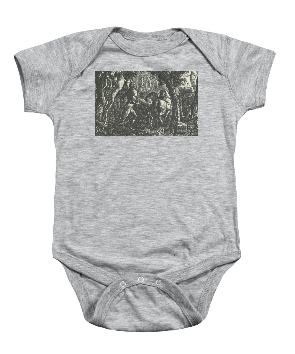 Ploughman Baby Onesie featuring the drawing The Ploughman Christian Ploughing The Last Furrow Of Life by Edward Calvert