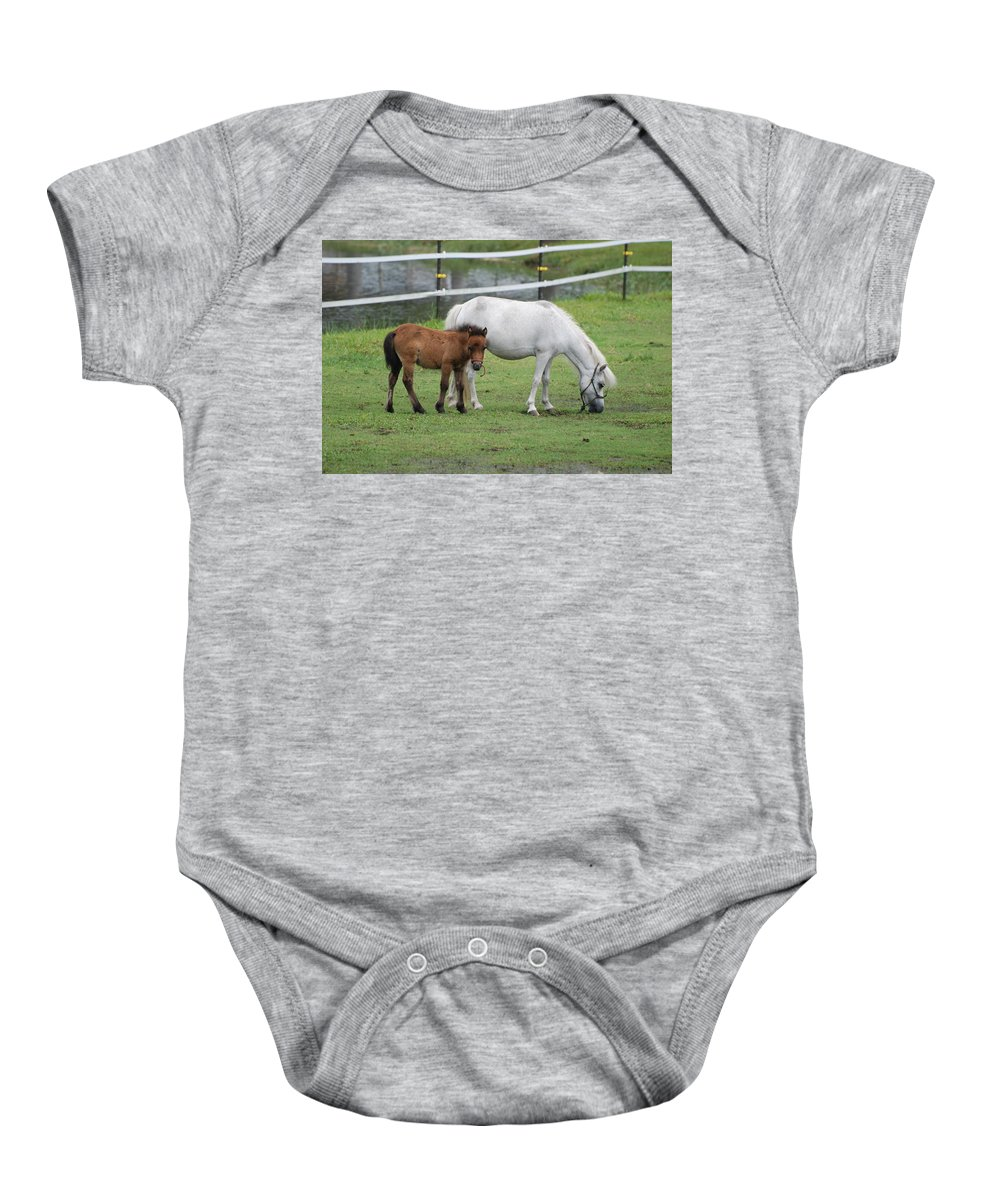 Horse Baby Onesie featuring the photograph The Ponys by Rob Hans
