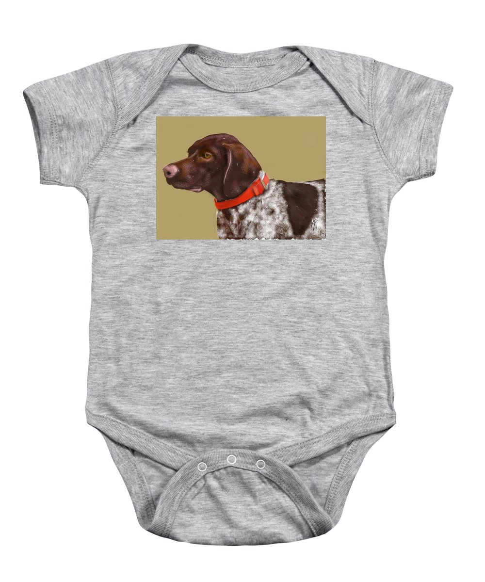 Animals Baby Onesie featuring the painting The Pooch With A Red Collar by Lois Ivancin Tavaf