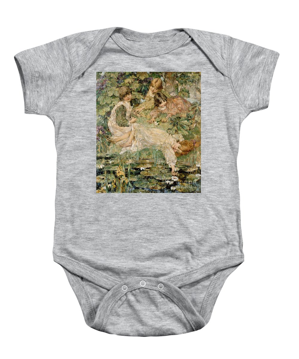 The Baby Onesie featuring the painting The Pool by Edward Atkinson Hornel
