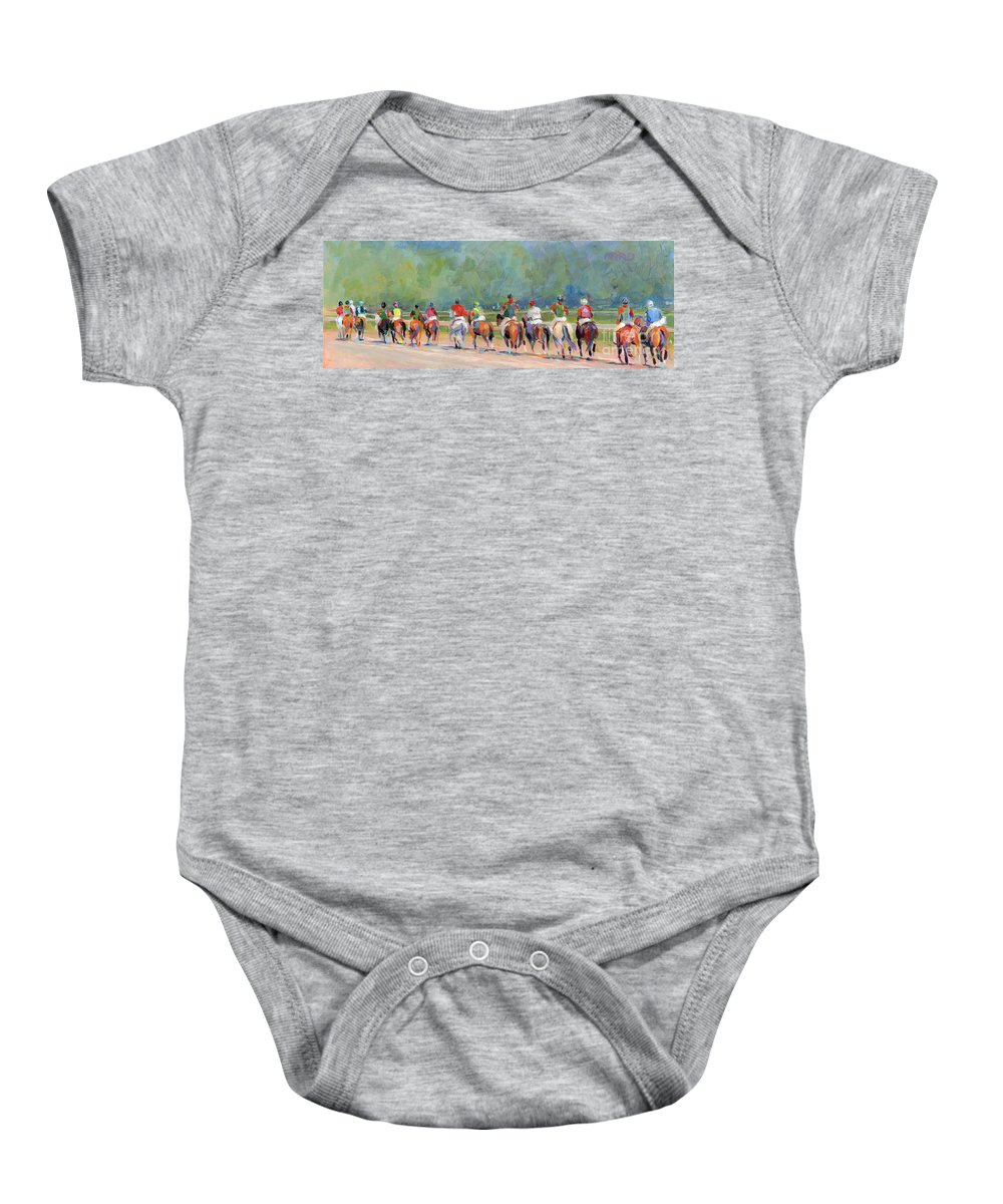 Saratoga Baby Onesie featuring the painting The Post Parade by Kimberly Santini