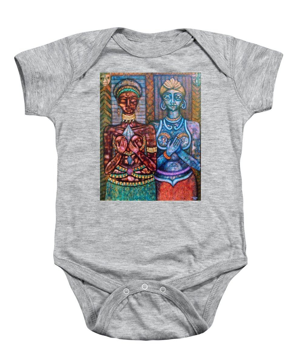 Priestesses Baby Onesie featuring the painting The Priestess Of The Occult by Madalena Lobao-Tello