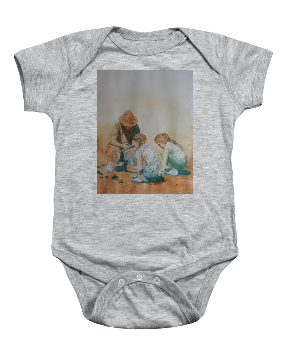 Fathers Baby Onesie featuring the painting The Pumice Seekers by Jenny Armitage
