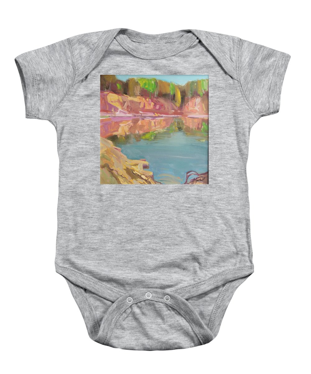 Oil Baby Onesie featuring the painting The Quarry by Sergey Ignatenko