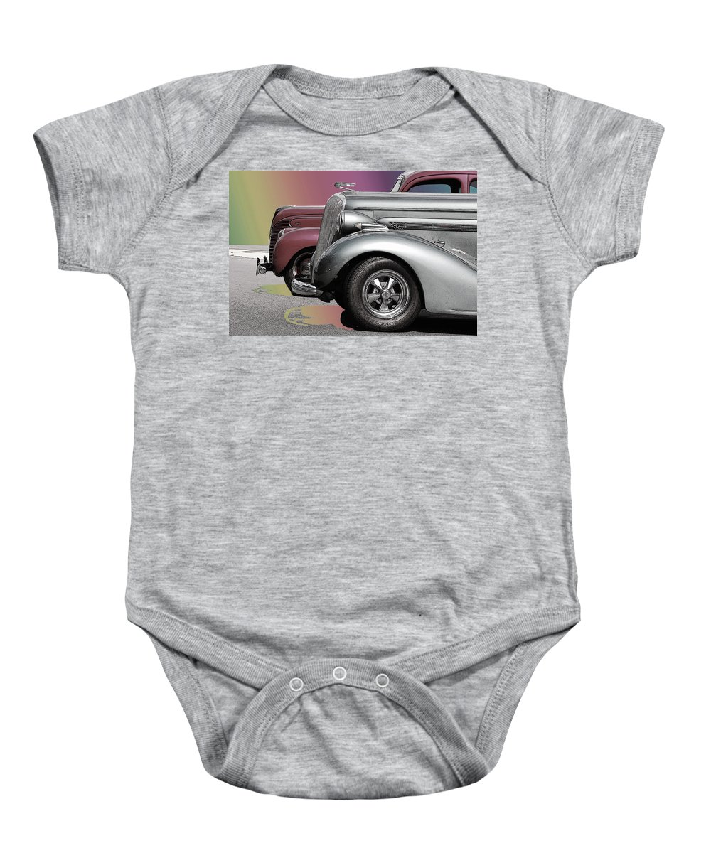 The Race Baby Onesie featuring the photograph The Race by Robert Meanor