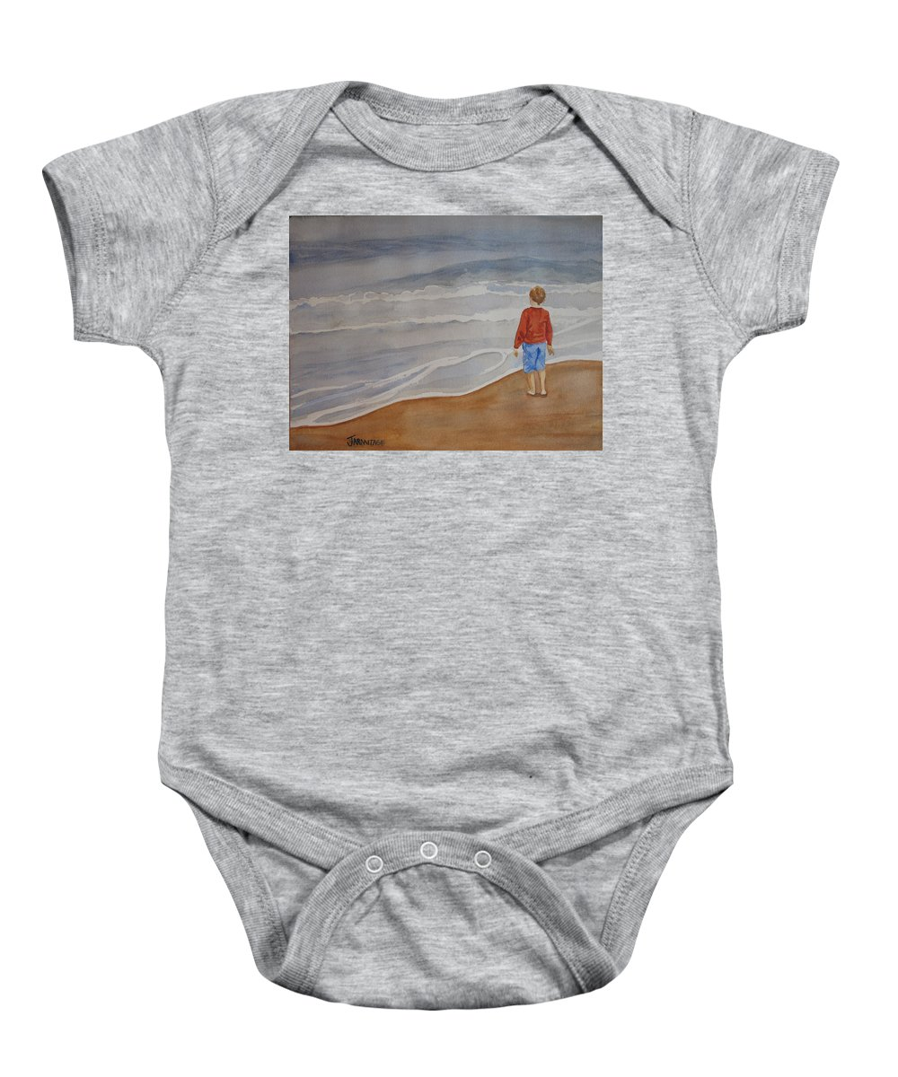 Boy Baby Onesie featuring the painting The Red Shirt by Jenny Armitage