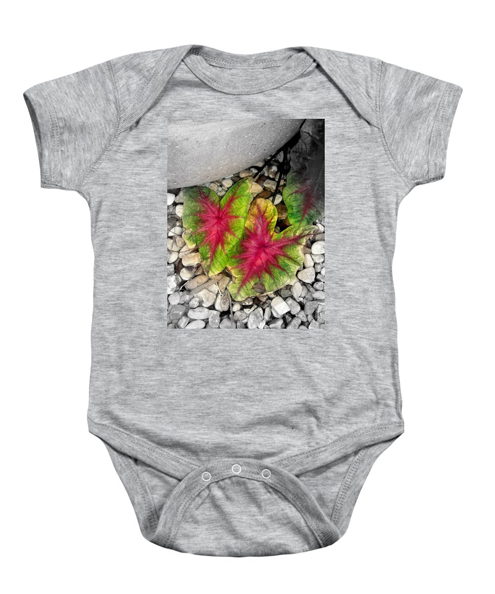 Red Baby Onesie featuring the photograph The Red Sisters by Susanne Van Hulst