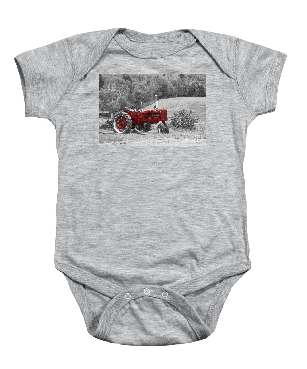 Tractor Baby Onesie featuring the photograph The Red Tractor by Aimelle