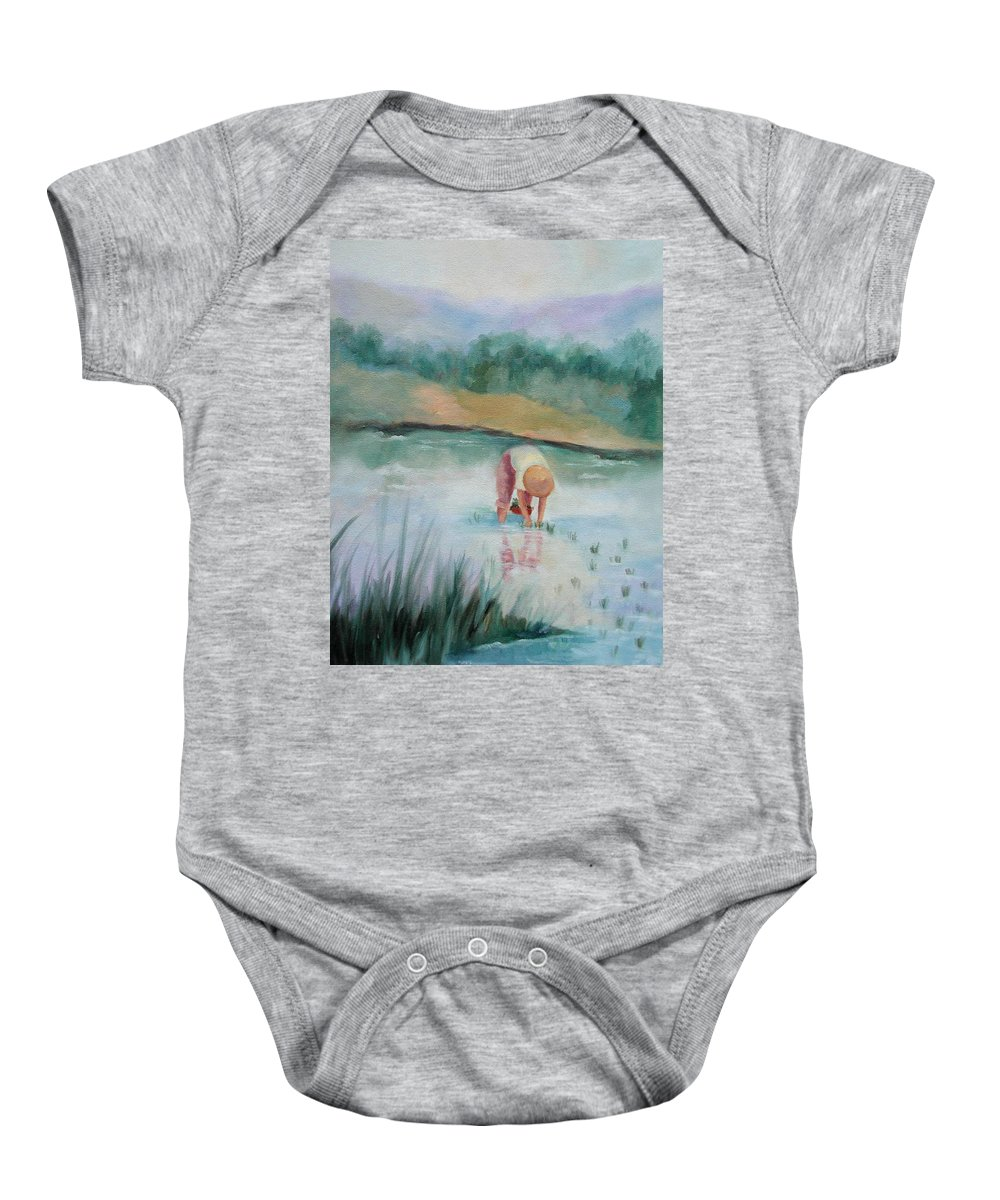 Figurative Baby Onesie featuring the painting The Rice Planter by Ginger Concepcion