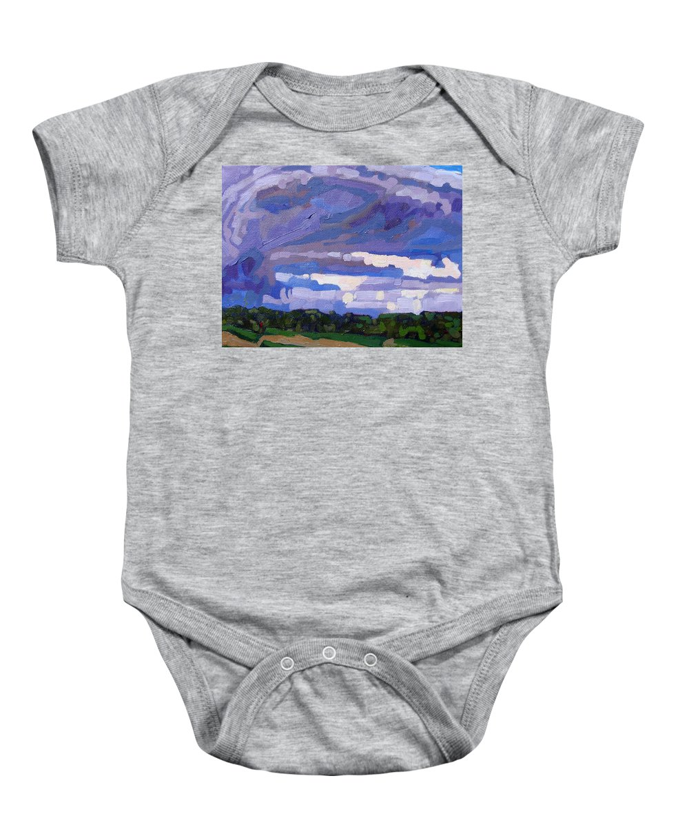 Thunderstorm Baby Onesie featuring the painting The Right Side Of A Cb by Phil Chadwick