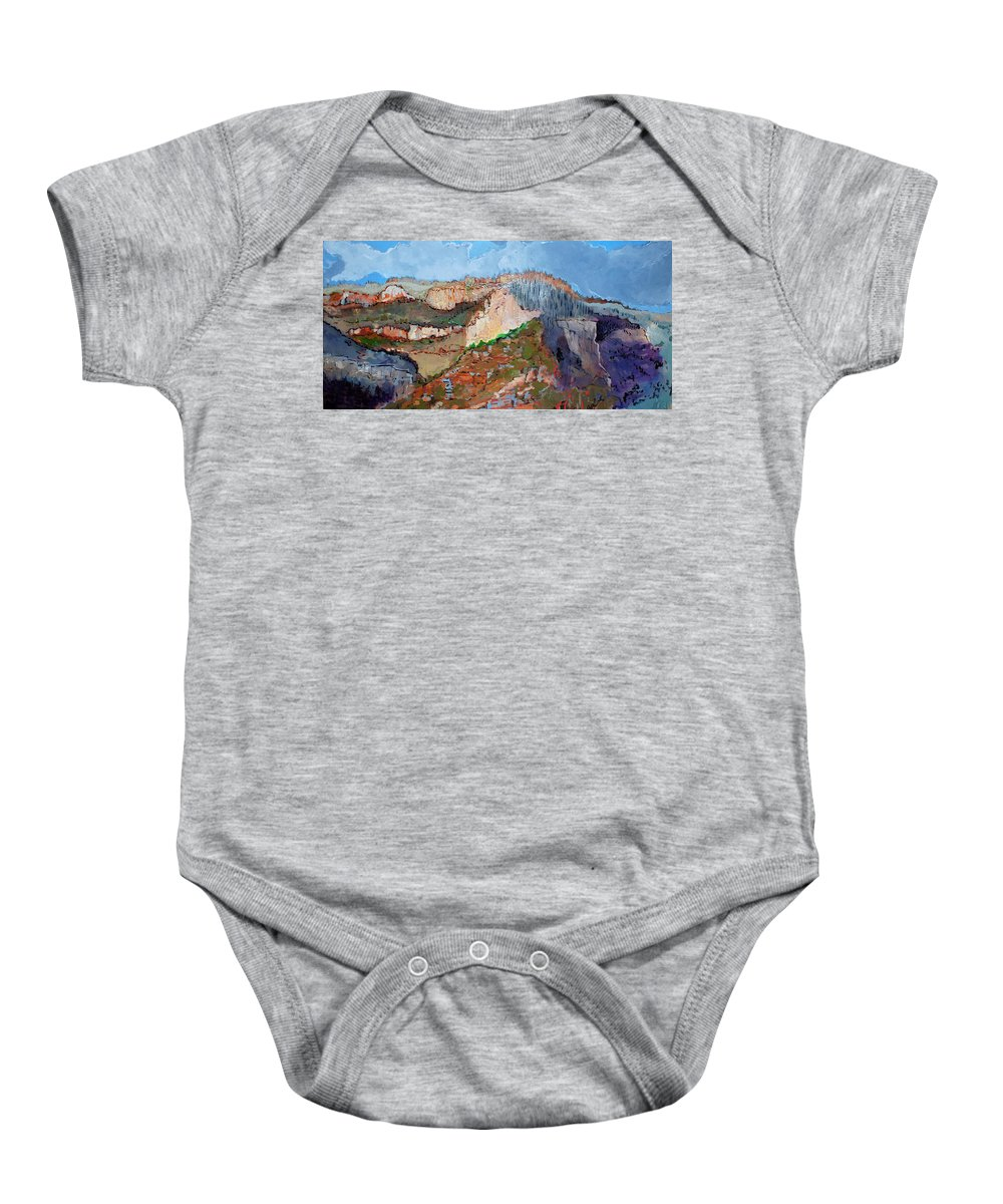Mountains Baby Onesie featuring the painting The Rockies by Kurt Hausmann