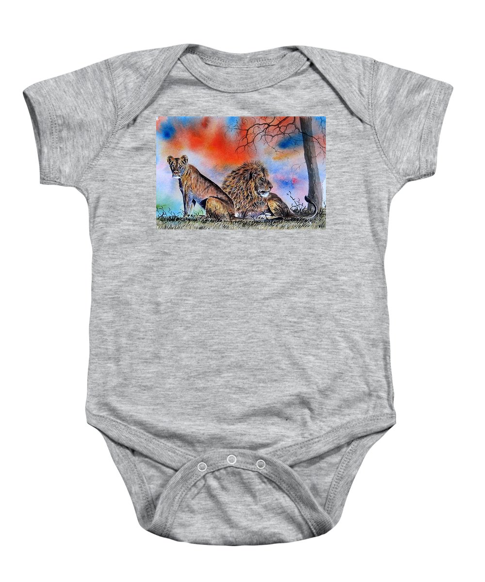 Lions Baby Onesie featuring the painting The Royal Lions Of The Mara by William Mutua