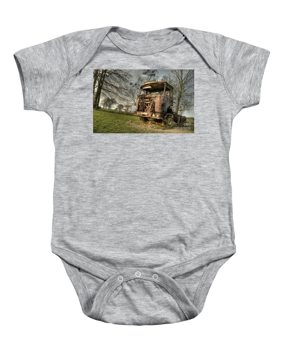 Truck Baby Onesie featuring the photograph The Rusting Rig by Rob Hawkins