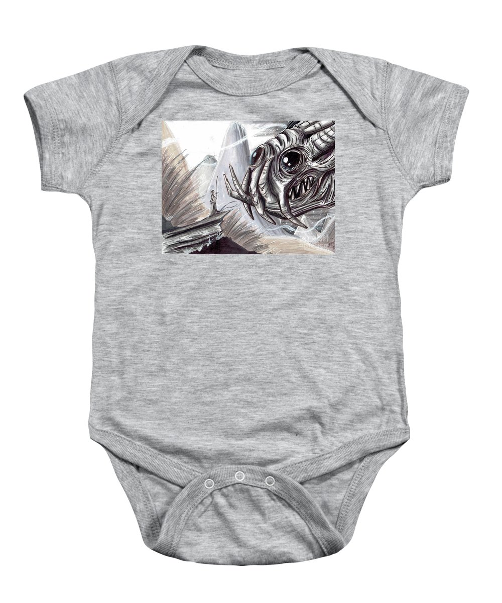 Space Baby Onesie featuring the mixed media The Scarifice by Keith Murrell