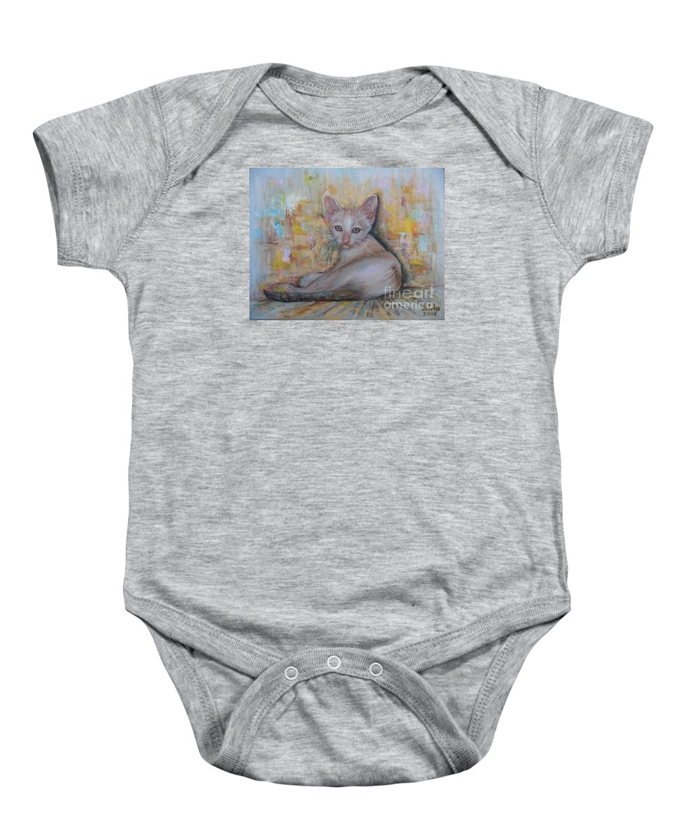 Cat Baby Onesie featuring the painting The Sitting Cat by Sukalya Chearanantana