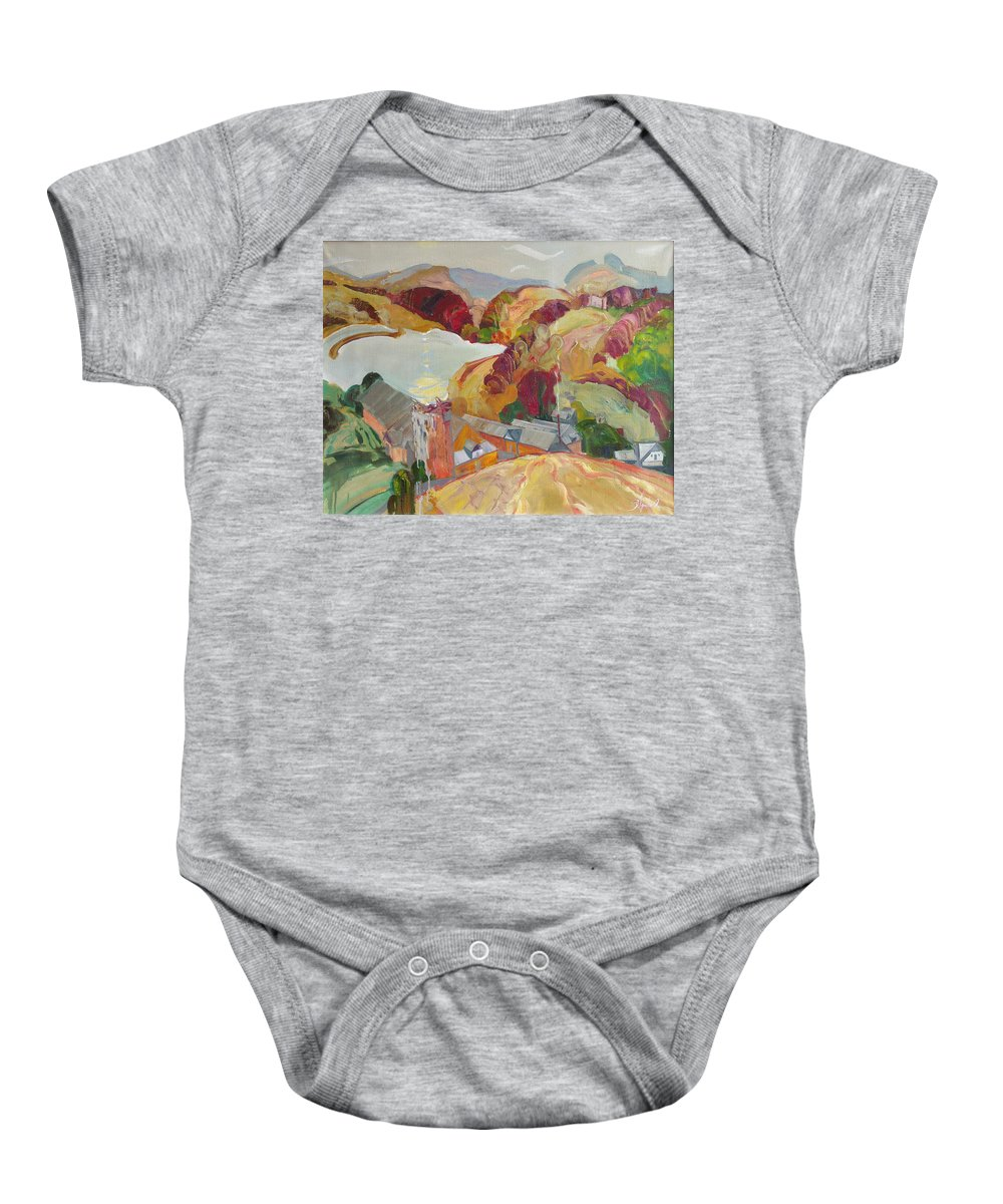 Oil Baby Onesie featuring the painting The Slovechansk Edge by Sergey Ignatenko