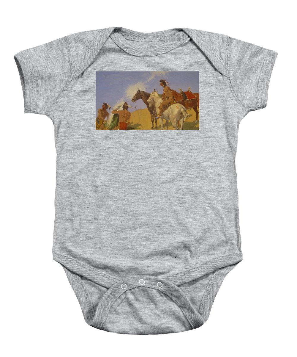 The Baby Onesie featuring the painting The Smoke Signal 1905 by Remington Frederic