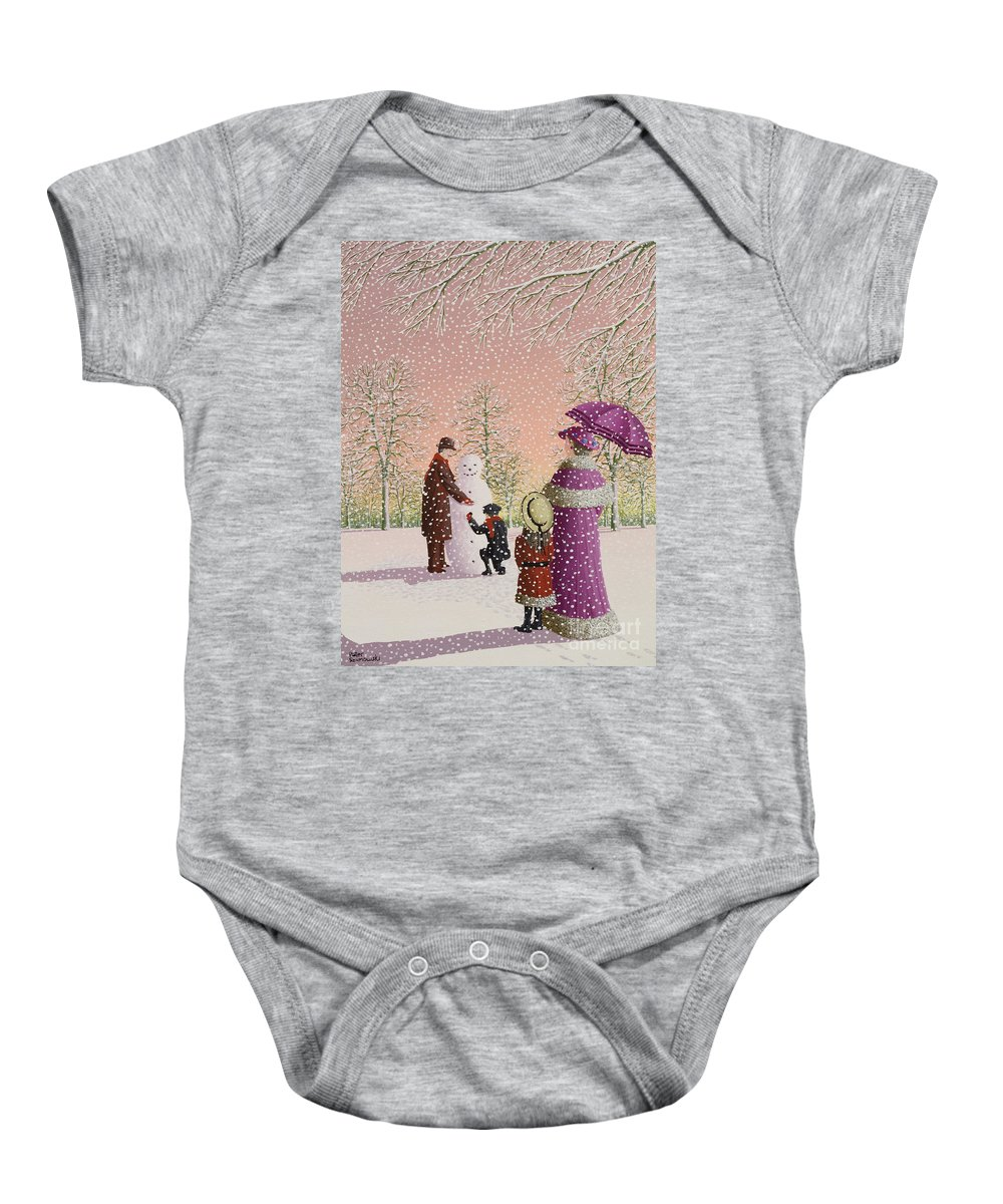 Snowman; Snow; Snowing; Winter; Cold; Woman; Umbrella; Parasol; Child; Children; Man; Playing; Outside; Landscape; Tree Baby Onesie featuring the painting The Snowman by Peter Szumowski