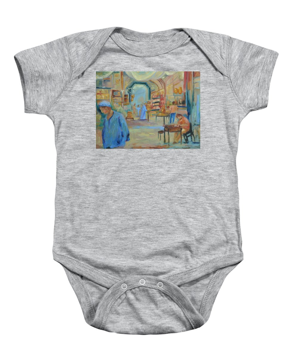Figurative Baby Onesie featuring the painting The Souk by Ginger Concepcion